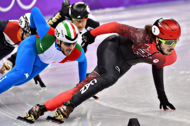 Samuel Girard of Canada, compete in the quarter-finals for the Men's 1000m Short Track Speed Skating finals during the Pyeongchang 2018 Winter Olympics Saturday at the Gangneung Ice Arena in Gangneung, South Korea. Photo by Richard Ellis/UPI