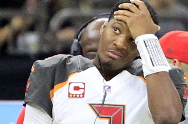 Tampa Bay Buccaneers quarterback Jameis Winston (3) watches the game against the New Orleans Saints from the sideline after he was pulled before the start of the second half on November 5 at Mercedes-Benz Superdome in New Orleans. Photo by AJ Sisco/UPI