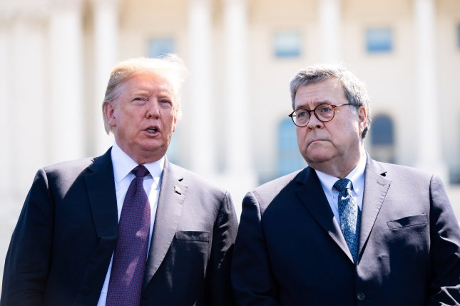 The White House said President Donald Trump (L) directed all U.S. intelligence agencies to cooperate with Attorney General William Barr's investigation to ensure the public learns the truth about the events that occurred during the 2016 presidential election.  Photo by Kevin Dietsch/UPI