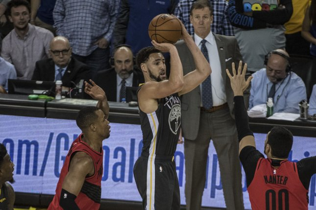 Golden State Warriors guard Klay Thompson (11) can receive a five-year, $190 million max deal from the Warriors this off-season. File Photo by Terry Schmitt/UPI