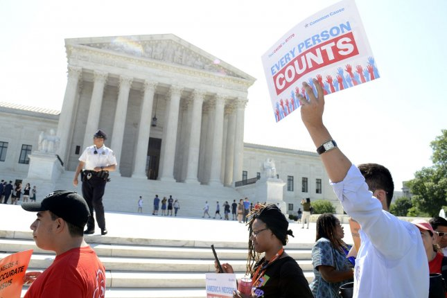Demonstrators gather in front of the U.S. Supreme Court in Washington, D.C., on June 27 over the court's ruling to block a citizenship question on the 2020 Census. File Photo by Mike Theiler/UPI