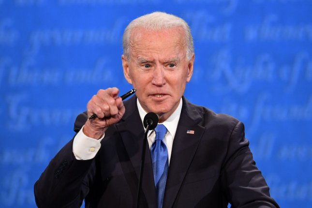 Joe Biden speaks during the final presidential debate with President Donald Trump at Belmont University in Nashville on October 22. Photo by Kevin Dietsch/UPI