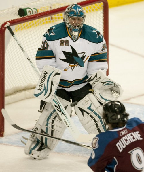San Jose Sharks goalie Evgeni Nabokov (20 makes a save against Coloado Avalanche center Matt Duchene during the first period at the Pepsi Center on April 4, 2010 in Denver. Western Conference eighth seed Colorado hosts the number one seeded conference team San Jose. UPI/Gary C. Caskey