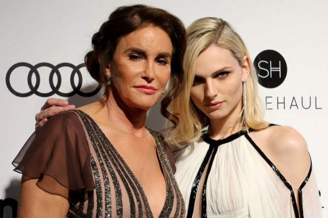 Caitlyn Jenner (L) and Andreja Pejic attend the Elton John AIDS Foundation Academy Awards viewing party on February 26. File Photo by Howard Shen/UPI