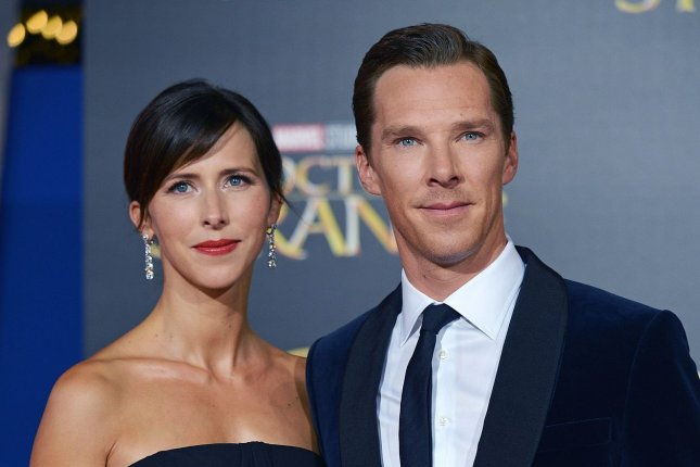 Benedict Cumberbatch (R) and Sophie Hunter attend the Los Angeles premiere of Doctor Strange on October 20, 2016. The actor announced Hunter's second pregnancy following the premiere. File Photo by Christine Chew/UPI