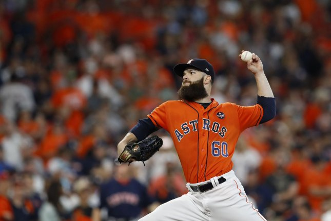 Houston Astros starting pitcher Dallas Keuchel (60) pitches against the Boston Red Sox in the first inning of game 2 of the ALDS in Houston, Texas on October 6, 2017. File photo by Aaron M. Sprecher/UPI