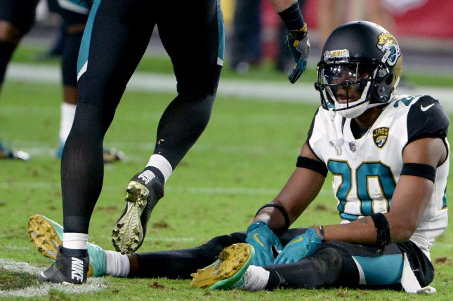 Jacksonville Jaguars' Jalen Ramsey sits on the field after the Arizona Cardinals kicked the game-winning field goal 