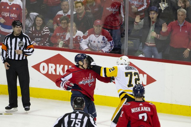 Penguins right wing Patric Hornqvist (72) punches Capitals defenseman Dmitry Orlov (9) during the second round NHL playoff game between the Pittsburgh Penguins and Washington Capitals Sunday at Capital One Arena in Washington, D.C. Photo by Alex Edelman/UPI