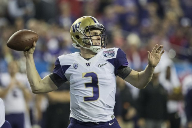 Washington Huskies quarterback Jake Browning (3) passes against Alabama in the second half of the 2016 Peach Bowl on December 31, 2016 at the Georgia Dome in Atlanta. File photo by Mark Wallheiser/UPI