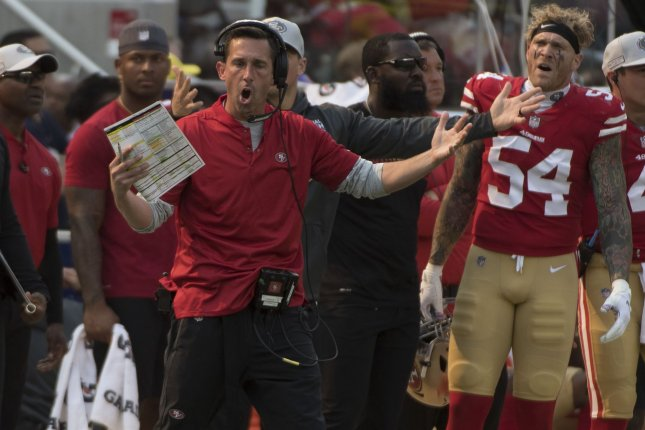 San Francisco 49ers head coach Kyle Shanahan yells at the officials during a game against the Arizona Cardinals at Levi's Stadium in Santa Clara, California on October 7, 2018. Photo by Terry Schmitt/UPI