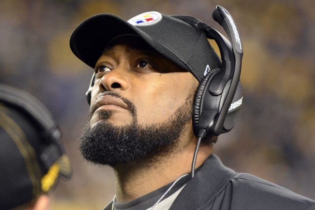 Pittsburgh Steelers head coach Mike Tomlin awaits the outcome of a challenge during a game against the New England Patriots on December 16, 2018. Photo by Archie Carpenter/UPI
