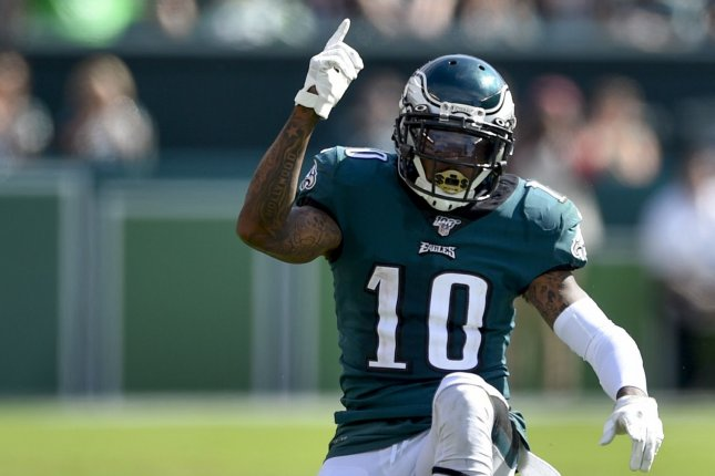 The Philadelphia Eagles said they would take appropriate action against wide receiver DeSean Jackson after he made anti-Semitic posts on social media. File Photo by Derik Hamilton/UPI