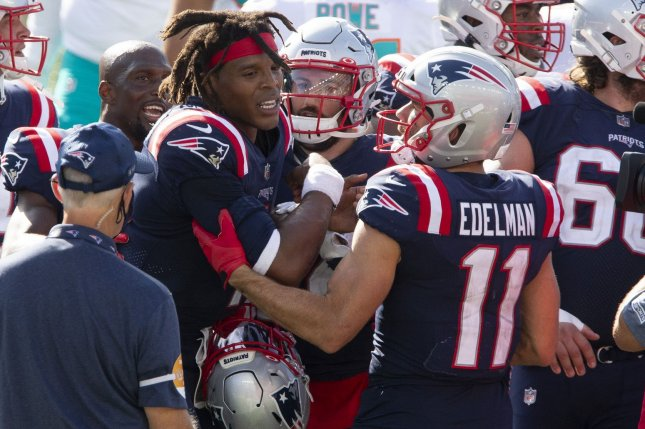 The New England Patriots moved to a virtual practice after they had to cancel in-person activities Friday due to a positive COVID-19 test result. File Photo by Matthew Healey/UPI
