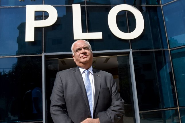 Dr. Saeb Erekat is pictured standing at PLO headquarters in Ramallah, West Bank, on September 17, 2018. File Photo by Debbie Hill/UPI
