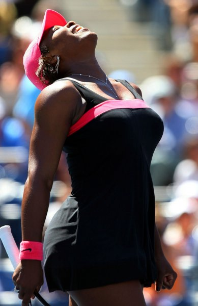 Serena Williams reacts after match point in her straight sets victory over Marion Bartoli on day 7 at the U.S. Open in New York City on September 2, 2007. Williams won straight sets 6-3, 6-4. (UPI Photo/John Angelillo)