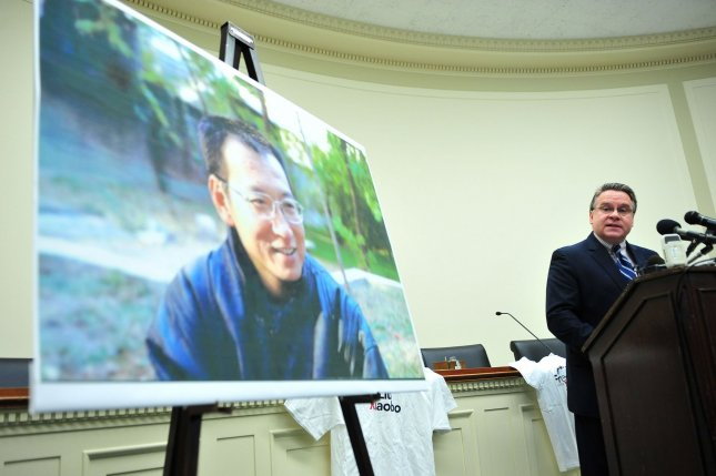 Rep. Christopher Smith, R-N.J., speaks at a Washington news conference Dec. 7, 2010, to honor the Chinese dissident and Nobel Peace Prize winner Liu Xiaobo and call on the Chinese government to improve its human rights record. UPI/Kevin Dietsch