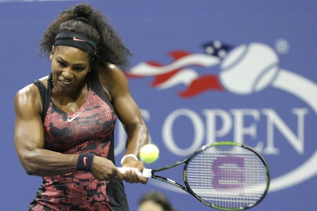 Serena Williams hits a backhand in the first set of her match against Bethanie Mattek-Sands in the third round in Arthur Ashe Stadium on day five at the US Open Tennis Championships at the USTA Billie Jean King National Tennis Center in New York City on September 4, 2015. Serena Williams is trying to become the first woman to win the Tennis Grand Slam since Steffi Graf in 1988. Photo by John Angelillo/UPI