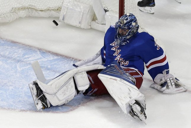 New York Rangers Henrik Lundqvist turned aside 43 shots and just about stole the game as the New York Rangers topped the Anaheim Ducks 4-1 at Madison Square Garden to give coach Alain Vigneault his 600th victory. File Photo by John Angelillo/UPI