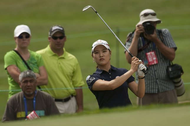South Korea's So Yeon Ryu studies a bunker shot during the third round of the U.S. Women's Open at the Broadmoor East Course in Colorado Springs. File photo by Gary C. Caskey/UPI