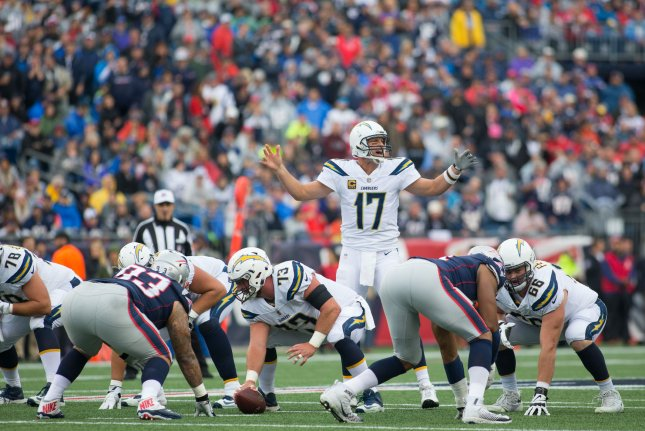 Los Angeles Chargers quarterback Philip Rivers (17) gives an audible on the line of scrimmage in the first quarter against the New England Patriots at Gillette Stadium in Foxborough, Massachusetts on October 29, 2017. File photo by Matthew Healey/UPI