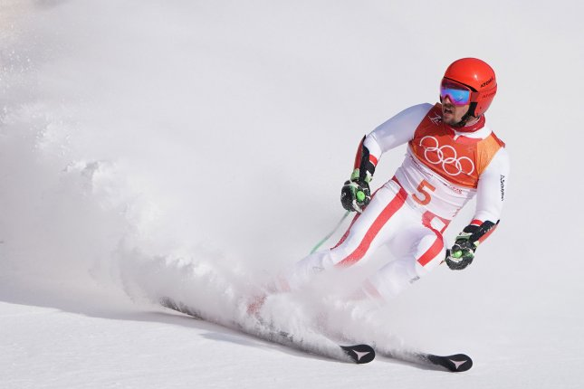 Austria's Marcel competes in the Men's Alpine Giant Slalom at the Pyeongchang 2018 Winter Olympics Sunday in Pyeongchang, South Korea. Photo by Kevin Dietsch/UPI