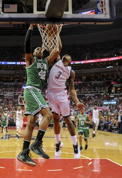Al Horford and the Boston Celtics visit the Sacramento Kings on Sunday. Photo by Mark Goldman/UPI