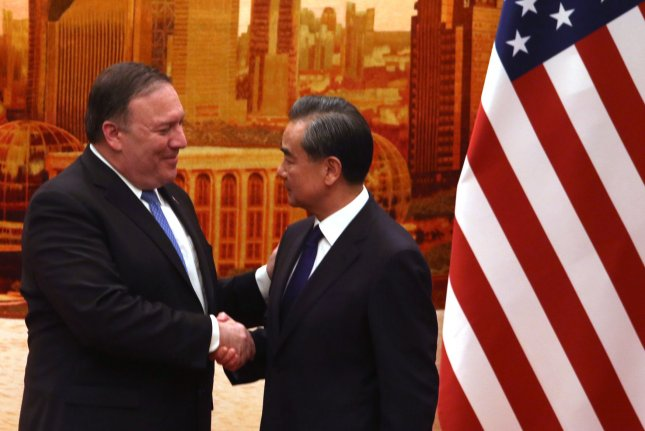 U.S. Secretary of State Mike Pompeo (L) and Chinese Foreign Minister Wang Yi were in contact this week, ahead of a possible U.S. trip to Pyongyang. File Photo by Stephen Shaver/UPI