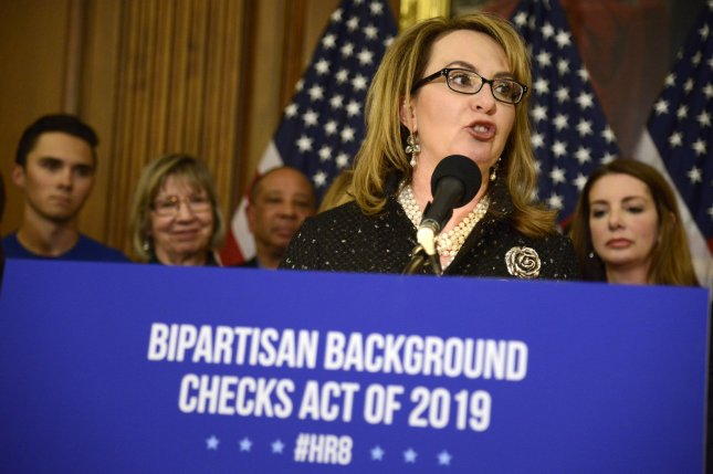 Former U.S. Rep. Gabrielle Giffords of Arizona speaks at a news conference before the Bipartisan Background Checks Act of 2019 was introduced Tuesday in the U.S. Congress. Giffords was shot during a constituency meeting in 2011 in Tucson. Photo by Mike Theiler/UPI