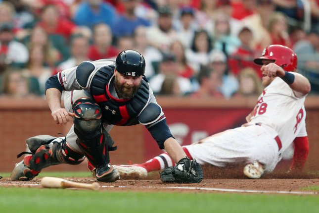 Atlanta Braves catcher Brian McCann announced his retirement from the league after the team's loss to the St. Louis Cardinals on Wednesday. File Photo by Bill Greenblatt/UPI