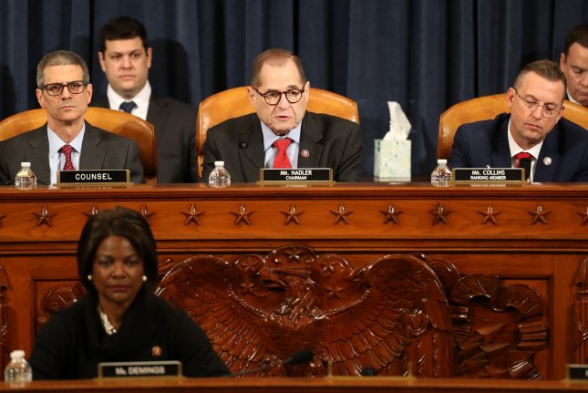 House judiciary committee Chairman Rep. Jerrold Nadler (C) speaks Friday as the panel votes to approve two articles of impeachment against President Donald Trump. Photo by Chip Somodevilla/UPI