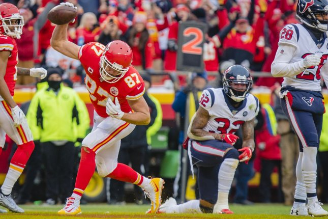 Travis Kelce (87) and the Kansas City Chiefs will face the Houston Texans at 8:20 p.m. EDT Thursday in Kansas City, Mo. File Photo by Kyle Rivas/UPI