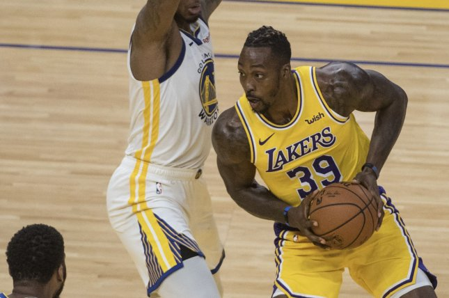 Former Los Angeles Lakers center Dwight Howard (39) has averaged 16.7 points, 12.3 rebounds and 1.9 blocks per game in his NBA career. File Photo by Terry Schmitt/UPI