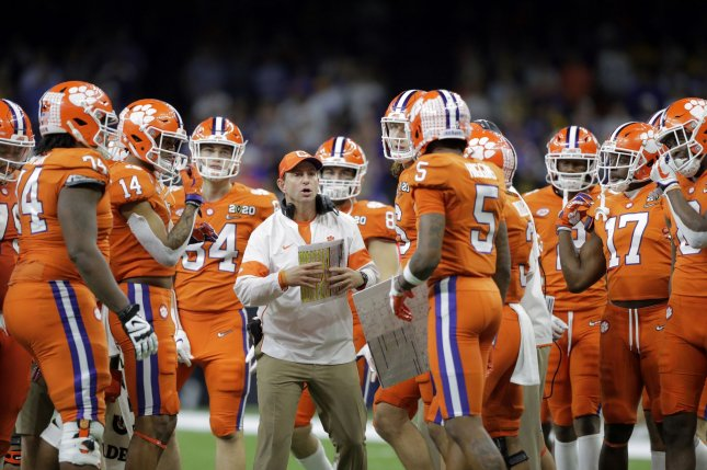 Clemson Tigers head coach Dabo Swinney (C) said that quarterbacks coach Brandon Streeter will be in the coaches' box to help with Clemson's offensive playcalling against Ohio State. File Photo by AJ Sisco/UPI