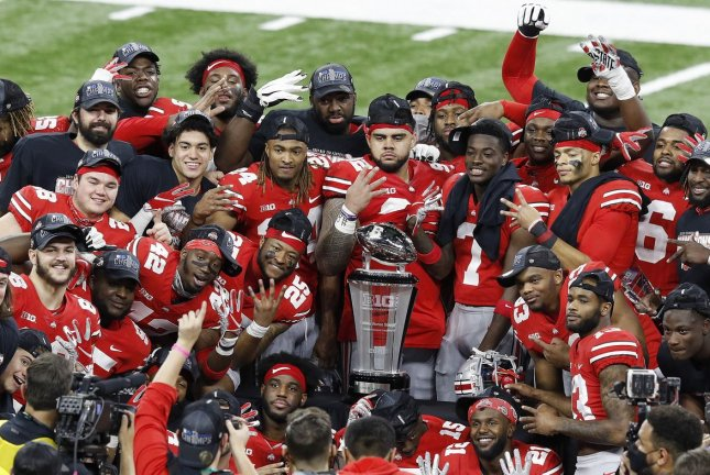The Ohio State Buckeyes have pauses all football activities due to a rise in positive COVID-19 test results, but still plan to open spring camp March 19 in Columbus. File Photo by Aaron Josefczyk/UPI