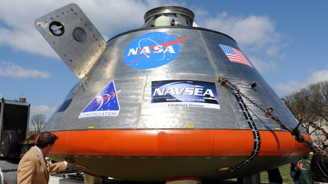 A full-size mockup of NASA's Orion crew exploration vehicle, targeted to begin carrying humans in 2014, is displayed on the National Mall in Washington on March 30, 2009. The Orion will ride the Ares I rocket into space and is part of the Constellation Program which is intended to carry humans to the moon, mars, International Space Station and beyond. (UPI Photo/Roger L. Wollenberg)