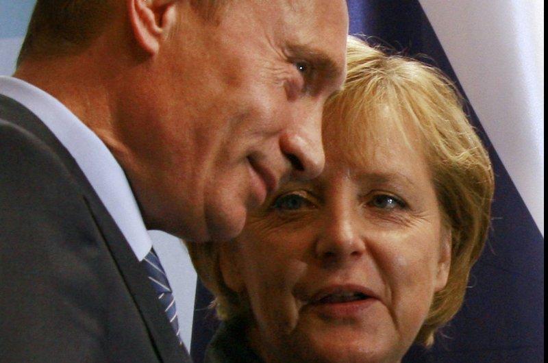 Russian President Vladimir Putin and German Chancellor Angela Merkel, pictured in 2007, spoke by phone on September 15, 2014 regarding the Ukraine conflict. (UPI Photo/Anatoli Zhdanov)