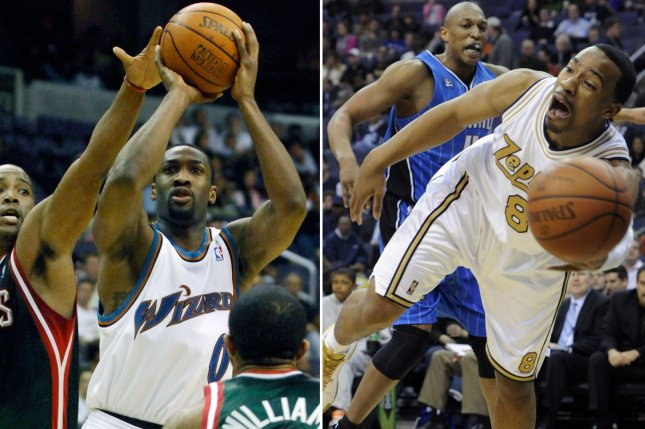 This combination photo shows Washington Wizards' Gilbert Arenas (L) in action, January 3, 2007, alongside a photo of Wizards' Javaris Crittenton, March 13, 2009. The two are under investigation after allegedly pulling guns on each other during a locker room dispute. UPI/Mark Goldman (L)/Alexis Glenn/Files