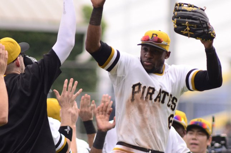 Pittsburgh Pirates left fielder Starling Marte (6) celebrates. Photo by Archie Carpenter/UPI