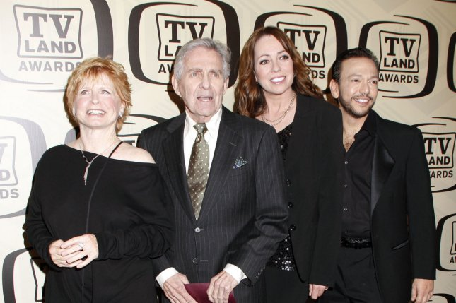 The cast of One Day at a Time -- Bonnie Franklin, Pat Harrington, Mackenzie Phillips and Glenn Scarpelli -- arrive for the 10th anniversary party for the TV Land Awards in New York on April 14, 2012. Photo by Laura Cavanaugh/UPI