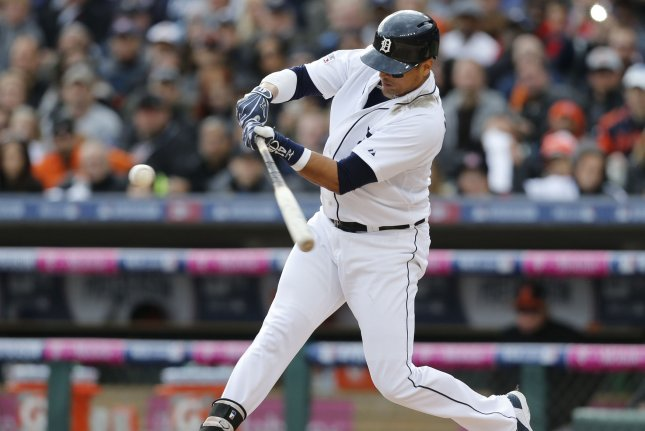 Victor Martinez of the Detroit Tigers connected for his 2,000th hit Friday in Cleveland. UPI/Rebecca Cook