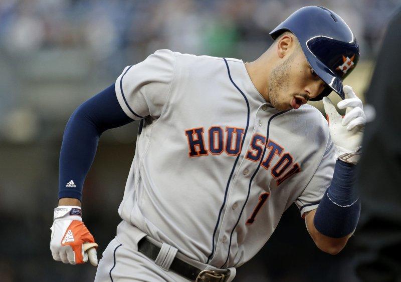Carlos Correa and the Houston Astros walloped the Boston Red Sox on Thursday. Photo by John Angelillo/UPI