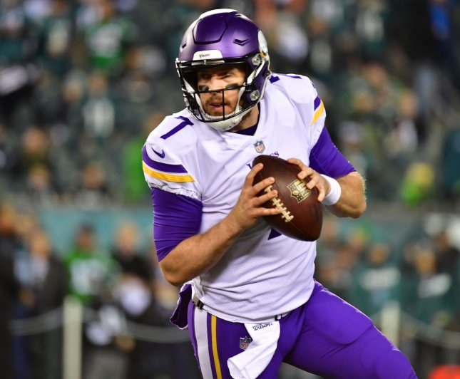 Case Keenum and the Minnesota Vikings have a new offensive coordinator in John DeFilippo. Photo by Kevin Dietsch/UPI