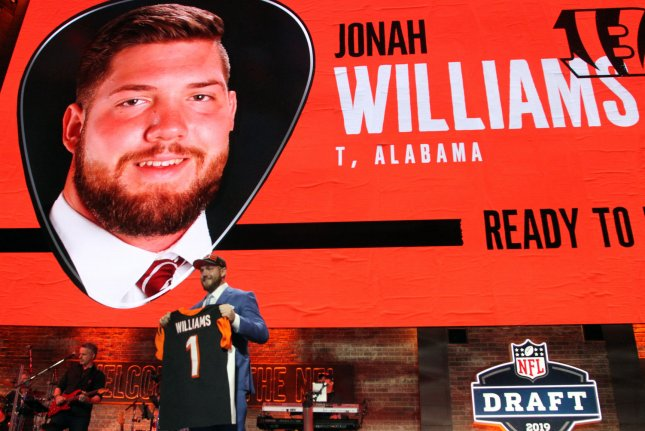 Former Alabama lineman Jonah Williams was the No. 11 overall pick in the 2019 NFL Draft. Photo by John Sommers II/UPI