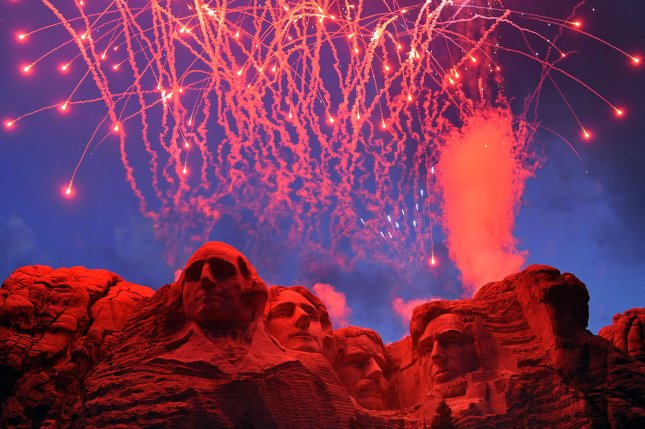 Fireworks detonate above the Mount Rushmore National Memorial in South Dakota on July 3, 2008. For the first time since then, the national memorial will host a fireworks display to mark the Fourth of July. File Photo by Mark I. Lane/U.S. Air Force