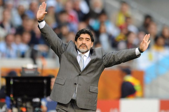 Former Argentine soccer player Diego Maradona led Argentina to the World Cup title in 1986 and is widely considered one of the greatest players of all time. File Photo by Chris Brunskill/UPI
