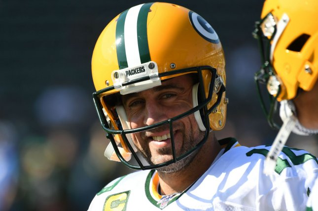Green Bay Packers quarterback Aaron Rodgers currently is preparing for Saturday's NFC divisional-round game against the Los Angeles Rams. The Packers are scheduled to play the Rams at 4:35 p.m. EST at Lambeau Field. File Photo by Jon SooHoo/UPI