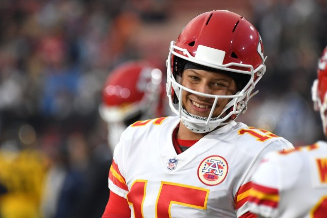 Kansas City Chiefs quarterback Patrick Mahomes completed 21 of 30 passes for 255 yards and a touchdown before leaving the game due to a concussion. File Photo by Jon SooHoo/UPI