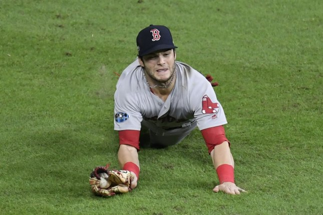 Boston Red Sox outfielder Andrew Benintendi had only a .103 batting average with one RBI in 52 plate appearances over 14 games last season. File Photo by Trask Smith/UPI