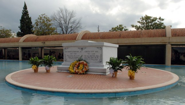 The remains of Dr. Martin Luther King, Jr., and Coretta Scott King, are interred together in an updated mausoleum unveiled at the King Center in Atlanta on November 20, 2006. Her casket was moved from a near-by temporary location on November 17, 2006, to the newly-constructed mausoleum 10 months after her death. Dr. King was assassinated in 1968. (UPI Photo/John Dickerson).