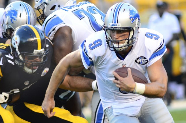 Detroit Lions quarterback Matthew Stafford (9) scrambles in the first quarter of the preseason game against the Pittsburgh Steelers at Heinz Field in Pittsburgh on August 12, 2016. Photo by Archie Carpenter/UPI